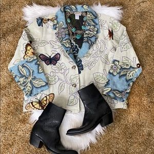 💙 cold water creek tapestry blazer coat butterfly